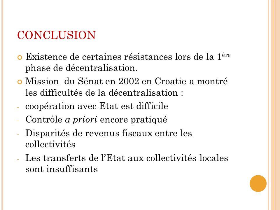 conclusion Existence de certaines résistances lors de la 1ère phase de décentralisation.