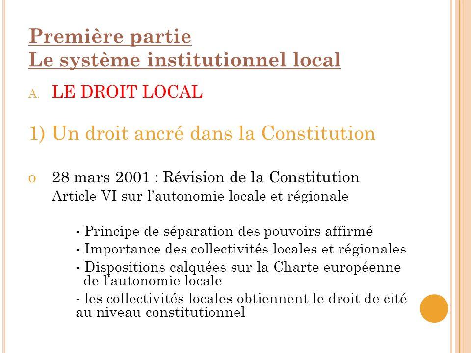 Première partie Le système institutionnel local