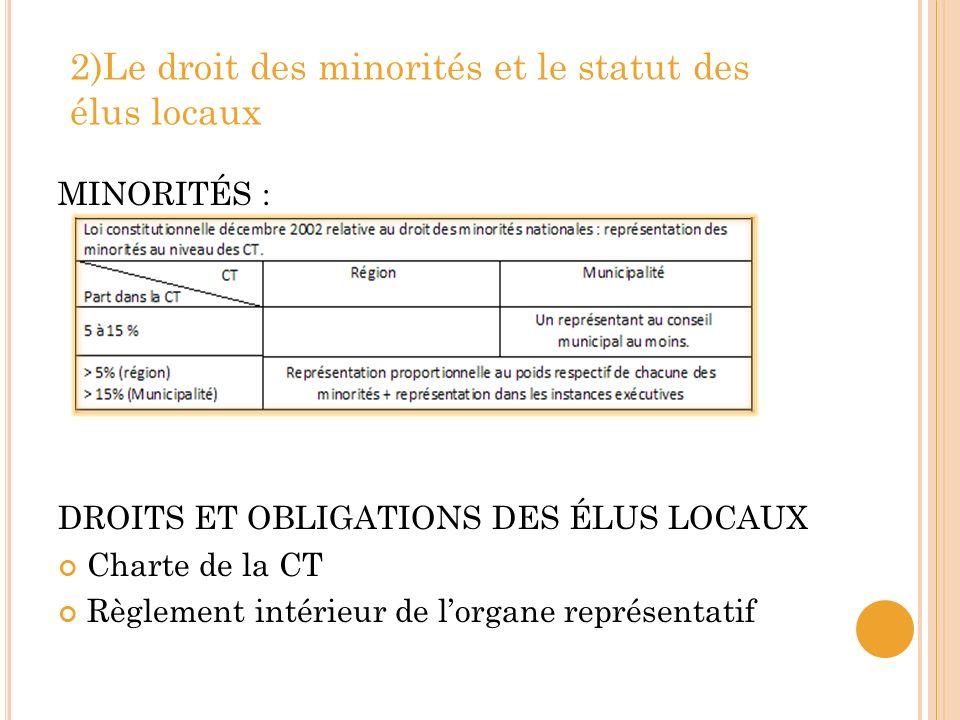 2)Le droit des minorités et le statut des élus locaux