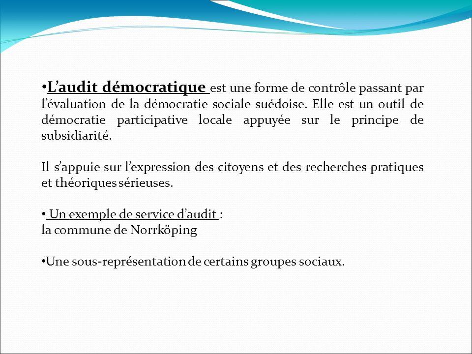 L'audit démocratique est une forme de contrôle passant par l'évaluation de la démocratie sociale suédoise. Elle est un outil de démocratie participative locale appuyée sur le principe de subsidiarité.