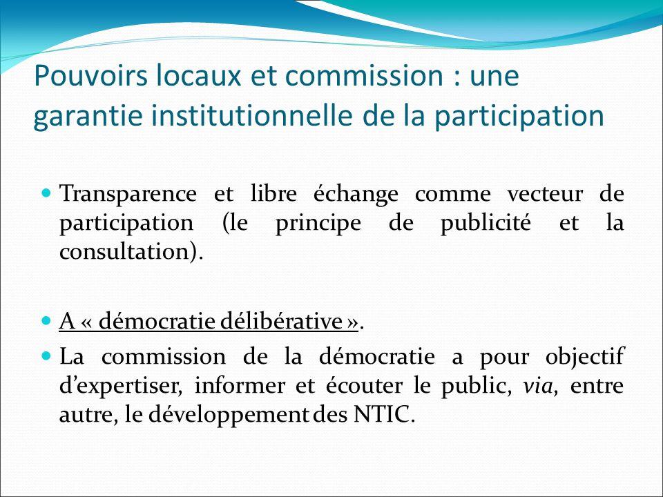 Pouvoirs locaux et commission : une garantie institutionnelle de la participation