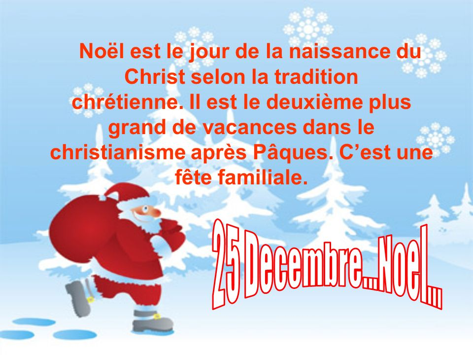 Noël est le jour de la naissance du Christ selon la tradition chrétienne. Il est le deuxième plus grand de vacances dans le christianisme après Pâques. C'est une fête familiale.