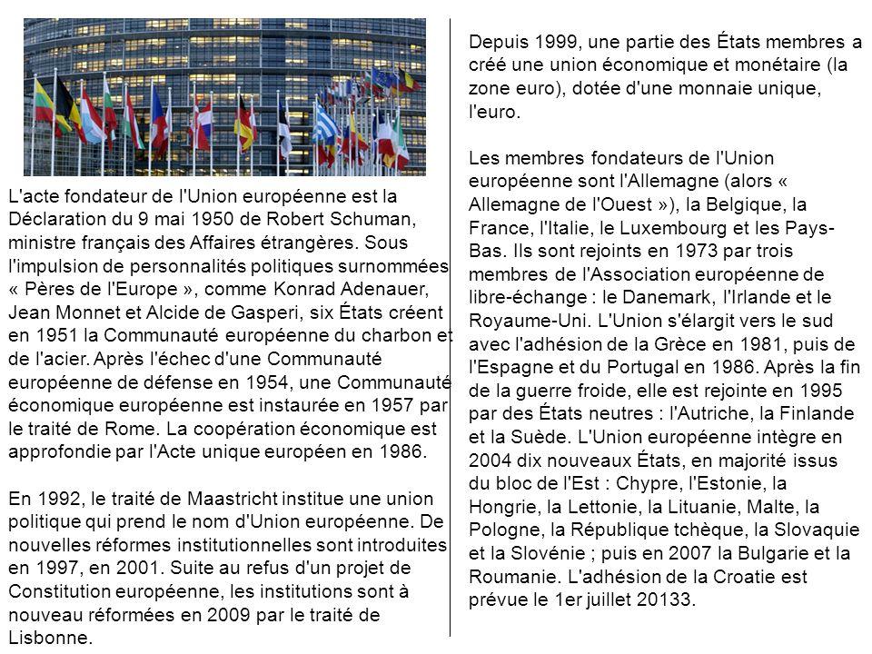 Depuis 1999, une partie des États membres a créé une union économique et monétaire (la zone euro), dotée d une monnaie unique, l euro.