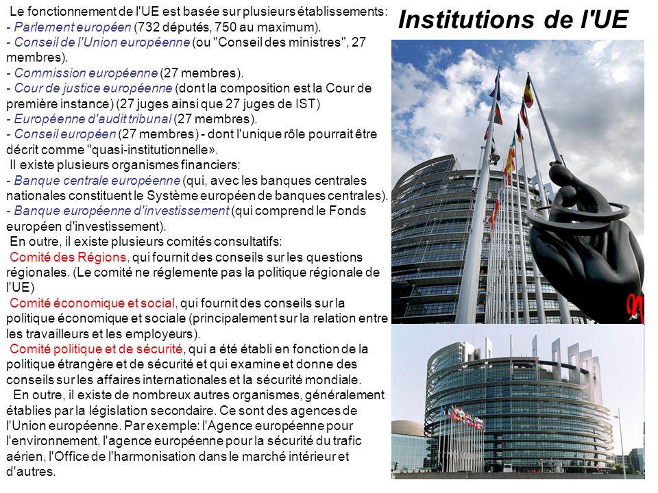 Le fonctionnement de l UE est basée sur plusieurs établissements: