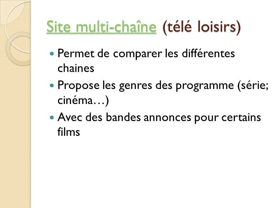 Site multi-chaîne (télé loisirs)