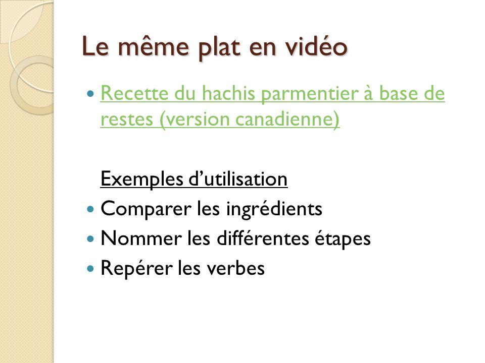 Le même plat en vidéo Recette du hachis parmentier à base de restes (version canadienne) Exemples d'utilisation.