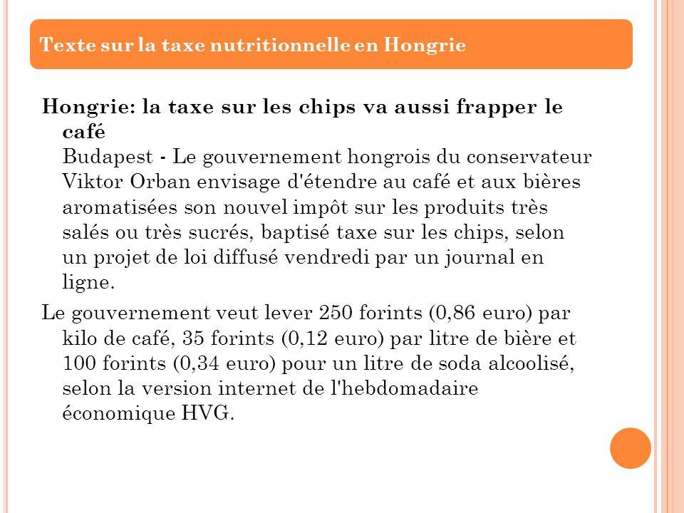 Texte sur la taxe nutritionnelle en Hongrie