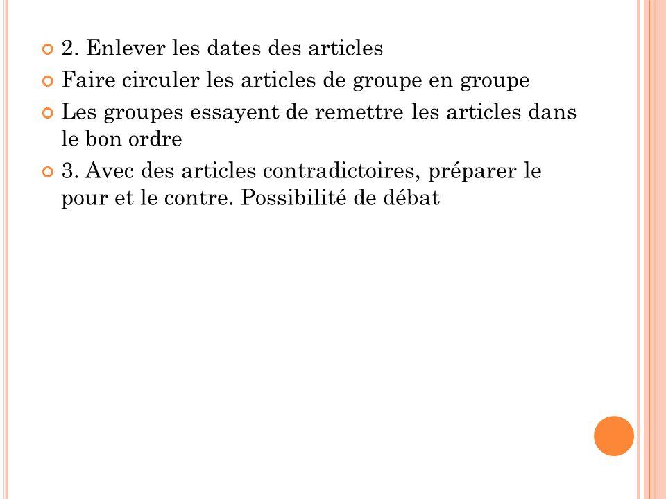 2. Enlever les dates des articles