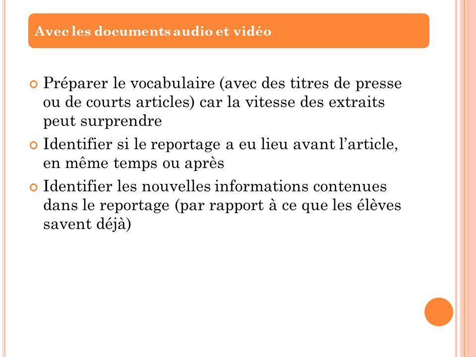 Avec les documents audio et vidéo
