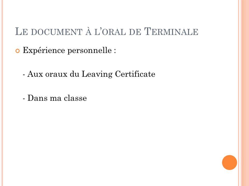 Le document à l'oral de Terminale