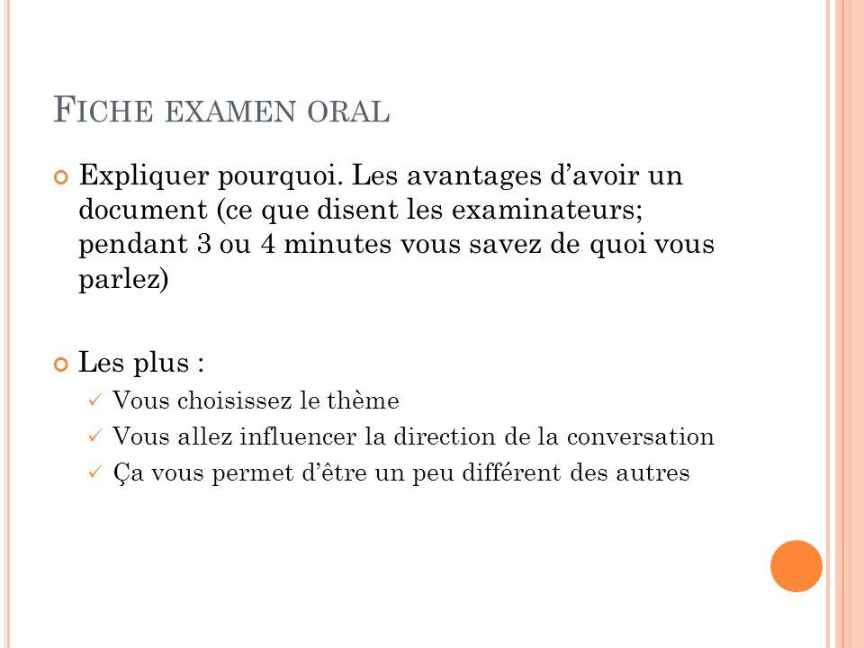 Fiche examen oral