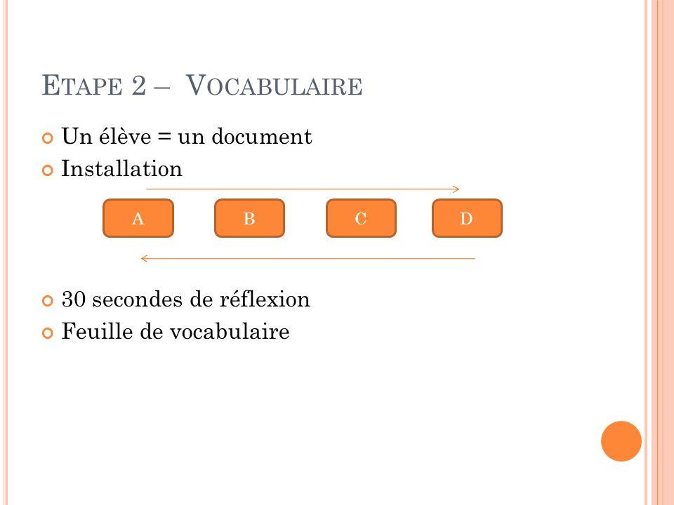 Etape 2 – Vocabulaire Un élève = un document Installation