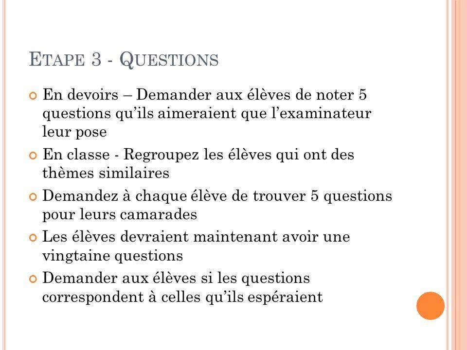 Etape 3 - Questions En devoirs – Demander aux élèves de noter 5 questions qu'ils aimeraient que l'examinateur leur pose.