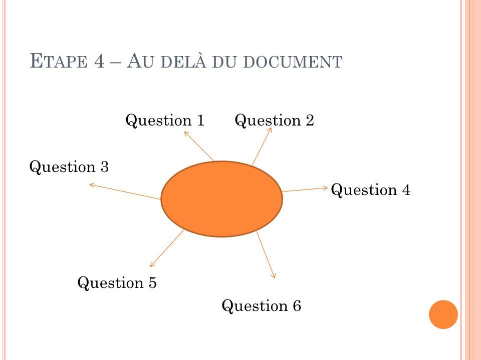 Etape 4 – Au delà du document