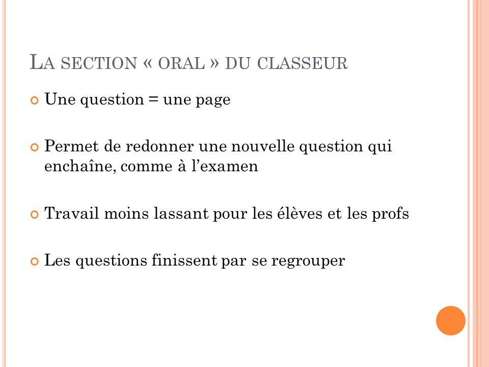 La section « oral » du classeur
