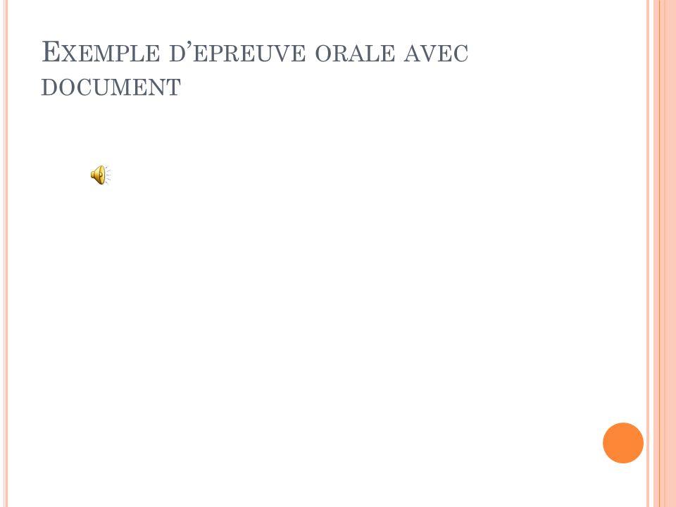 Exemple d'epreuve orale avec document
