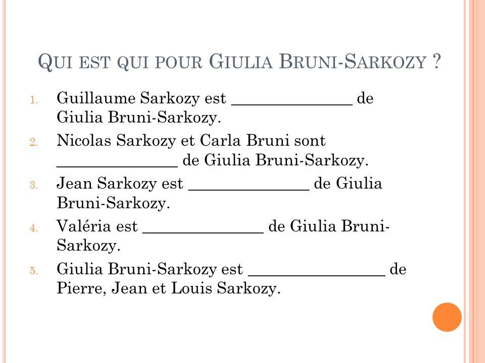 Qui est qui pour Giulia Bruni-Sarkozy
