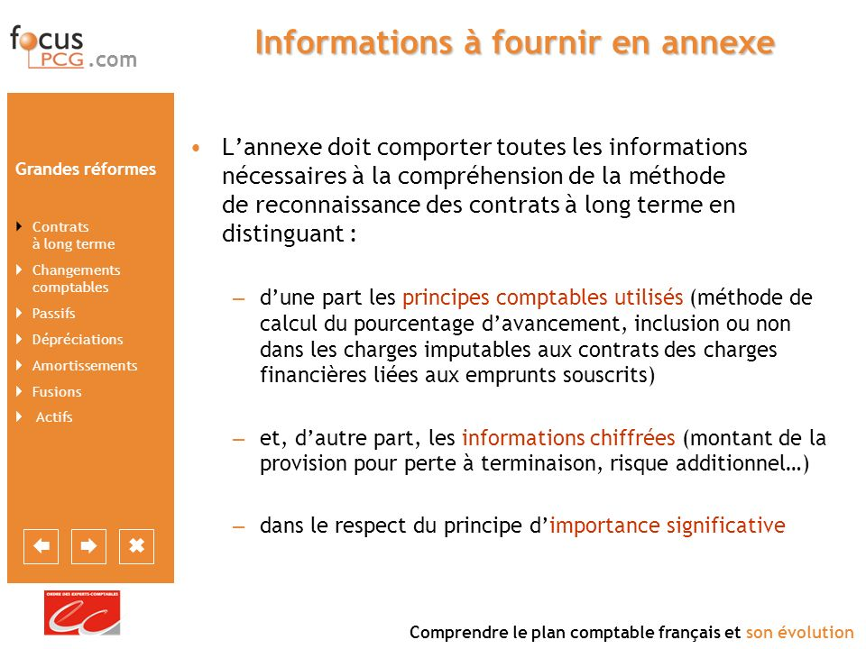 Informations à fournir en annexe