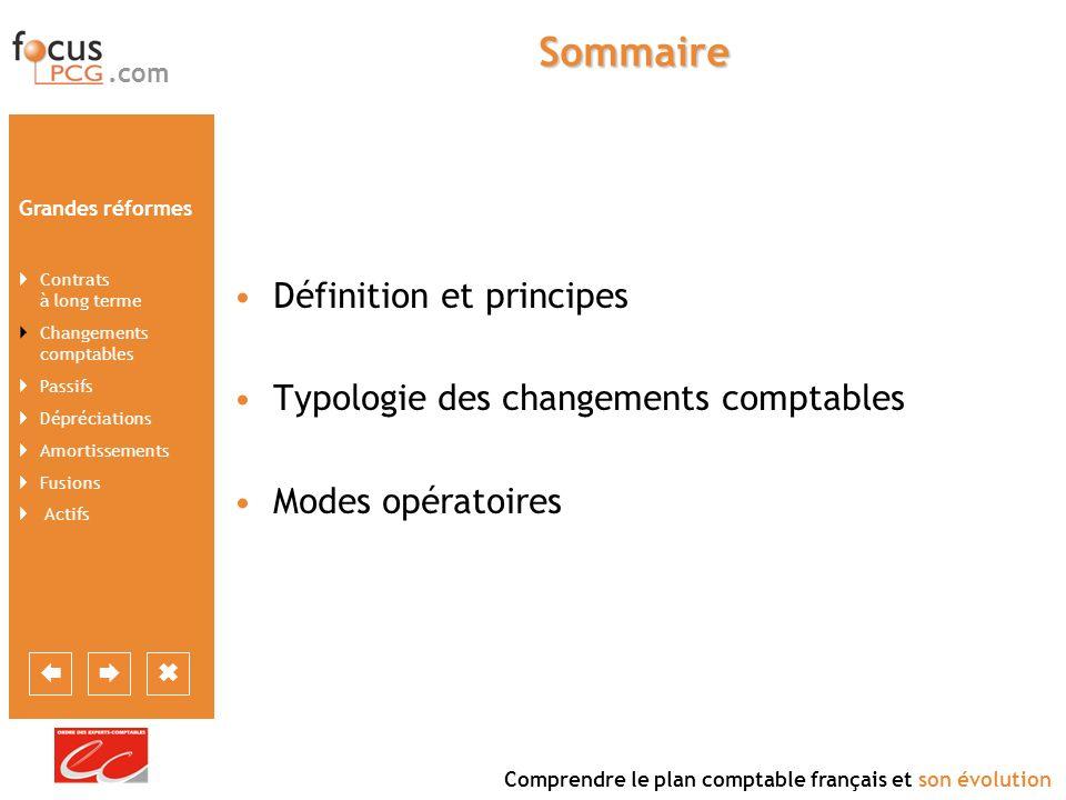 Sommaire Définition et principes Typologie des changements comptables