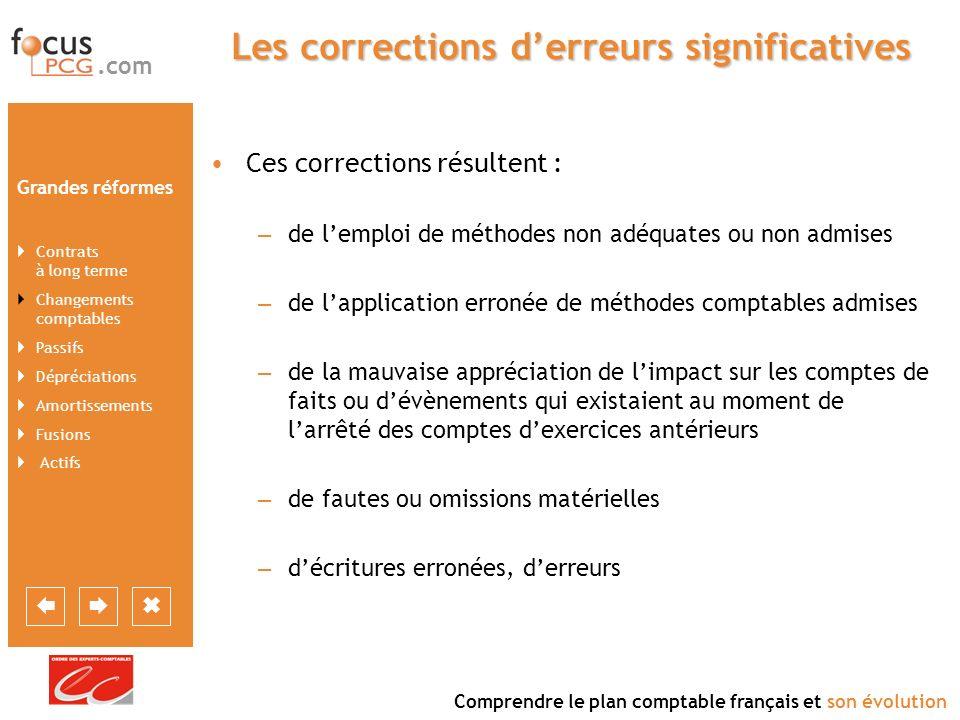 Les corrections d'erreurs significatives