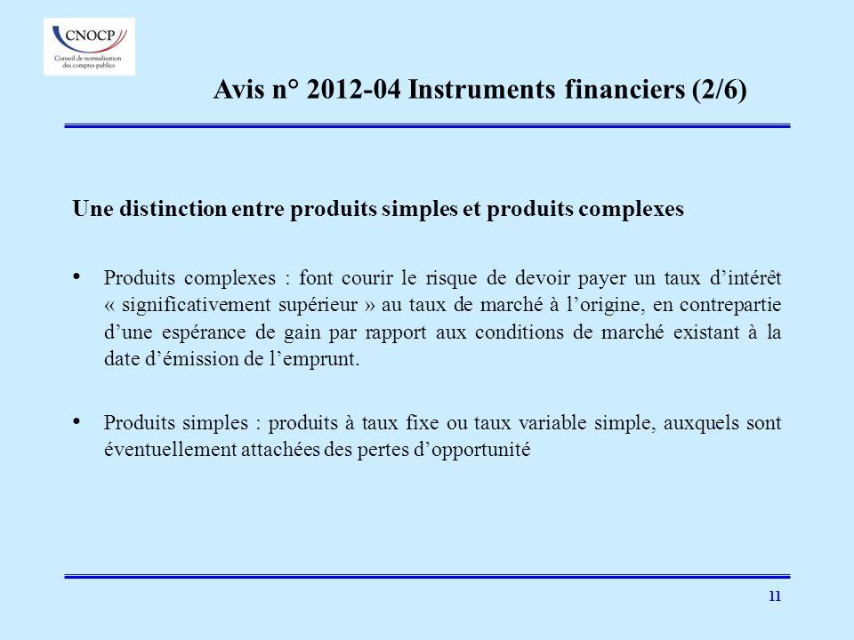 Avis n° 2012-04 Instruments financiers (2/6)