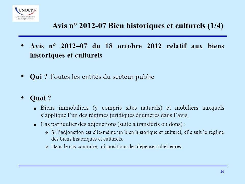 Avis n° 2012-07 Bien historiques et culturels (1/4)