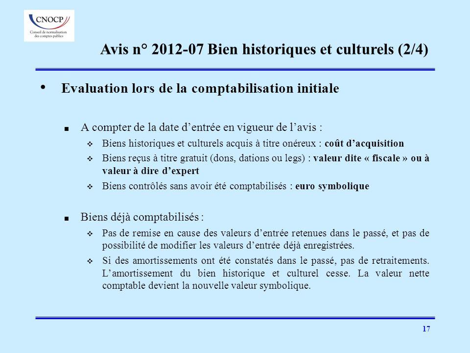 Avis n° 2012-07 Bien historiques et culturels (2/4)