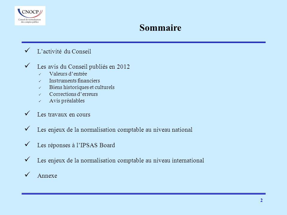 Sommaire L'activité du Conseil Les avis du Conseil publiés en 2012