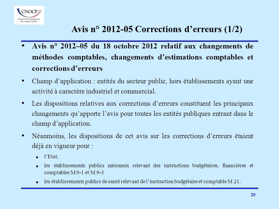 Avis n° 2012-05 Corrections d'erreurs (1/2)