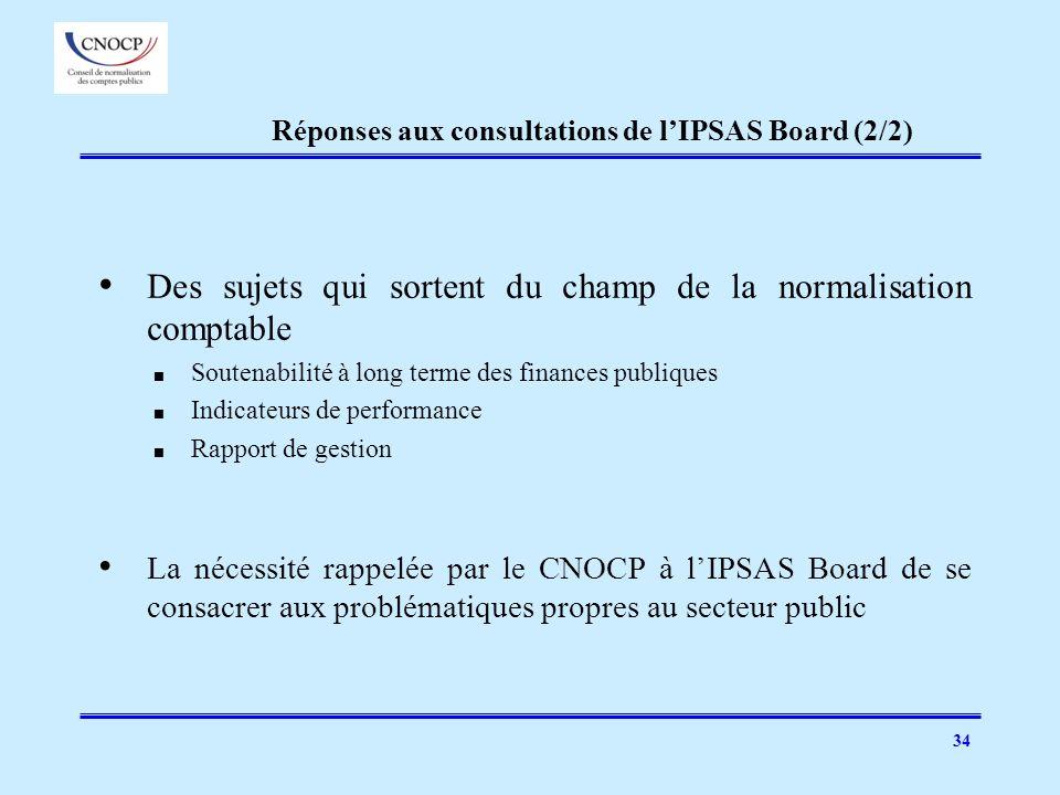 Réponses aux consultations de l'IPSAS Board (2/2)