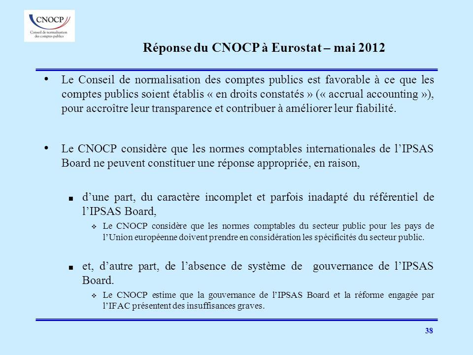Réponse du CNOCP à Eurostat – mai 2012