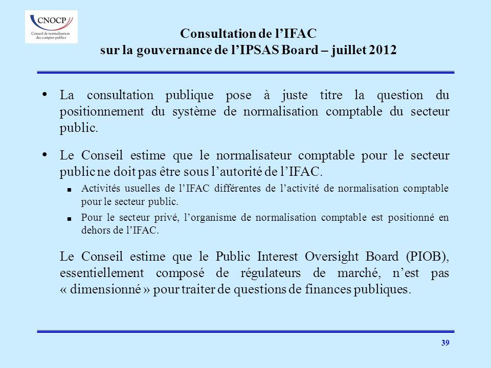 Consultation de l'IFAC sur la gouvernance de l'IPSAS Board – juillet 2012