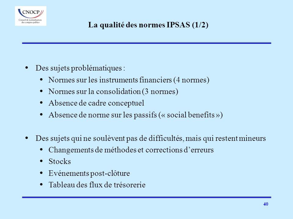 La qualité des normes IPSAS (1/2)
