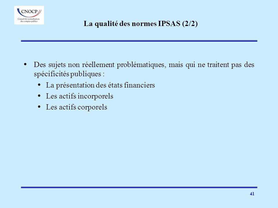 La qualité des normes IPSAS (2/2)