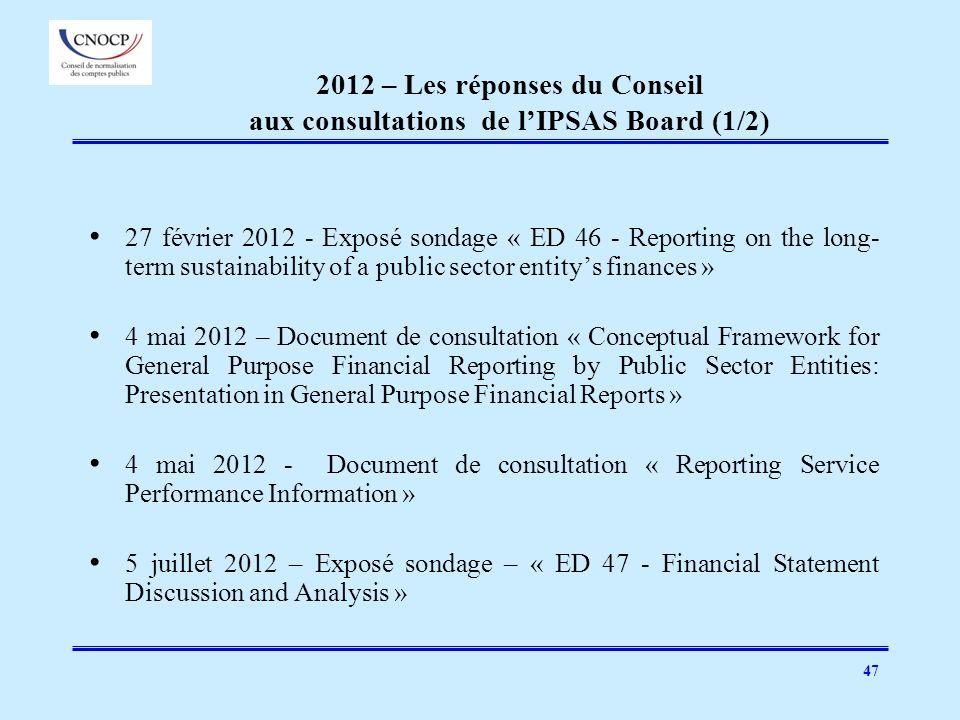 2012 – Les réponses du Conseil aux consultations de l'IPSAS Board (1/2)