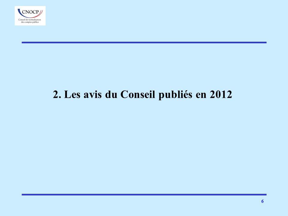 2. Les avis du Conseil publiés en 2012