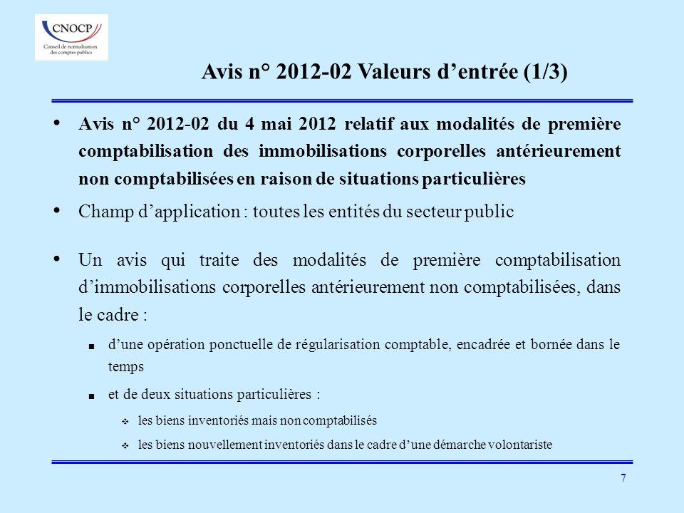 Avis n° 2012-02 Valeurs d'entrée (1/3)