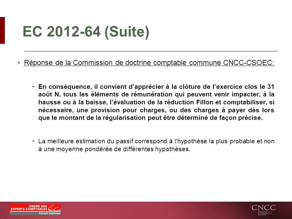 EC 2012-64 (Suite) Réponse de la Commission de doctrine comptable commune CNCC-CSOEC: