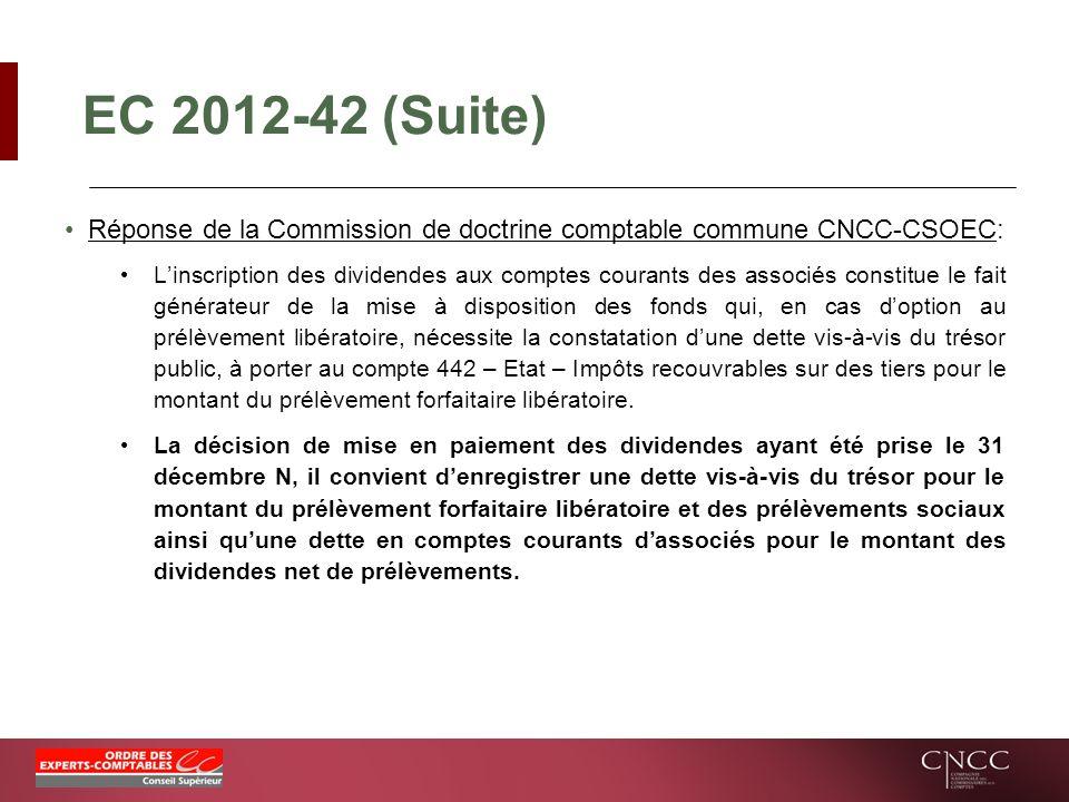 EC 2012-42 (Suite) Réponse de la Commission de doctrine comptable commune CNCC-CSOEC:
