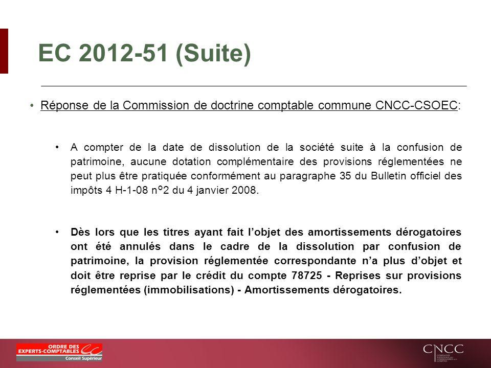 EC 2012-51 (Suite) Réponse de la Commission de doctrine comptable commune CNCC-CSOEC: