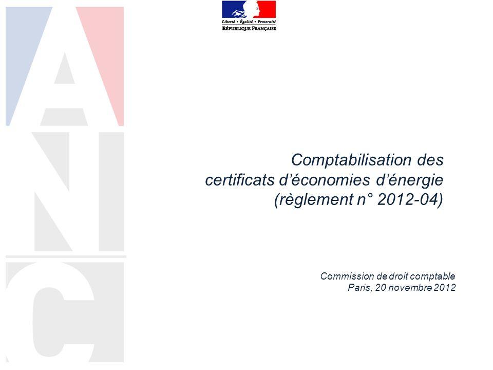 Comptabilisation des certificats d'économies d'énergie (règlement n° 2012-04)