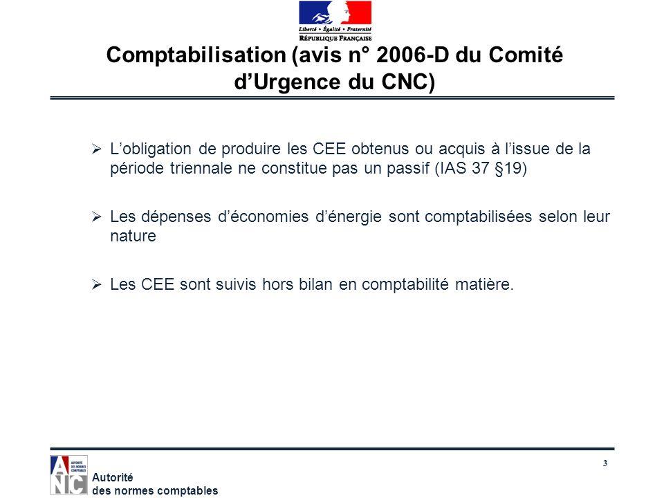 Comptabilisation (avis n° 2006-D du Comité d'Urgence du CNC)