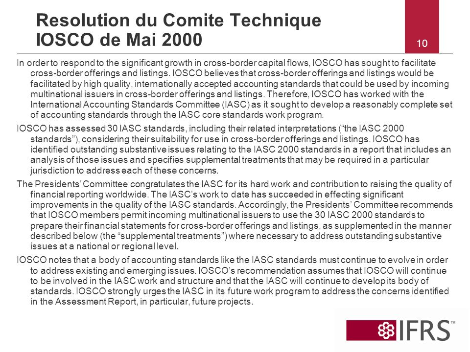 Resolution du Comite Technique IOSCO de Mai 2000
