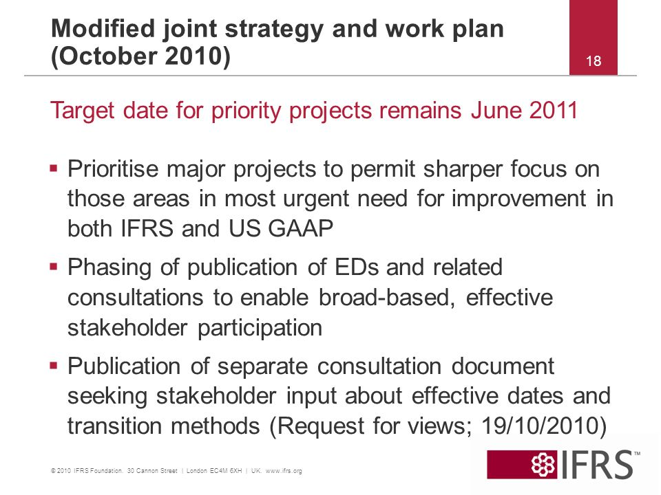 Modified joint strategy and work plan (October 2010)