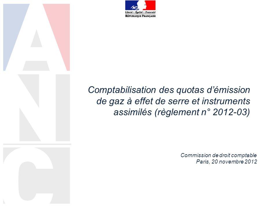 Comptabilisation des quotas d'émission de gaz à effet de serre et instruments assimilés (règlement n° 2012-03)