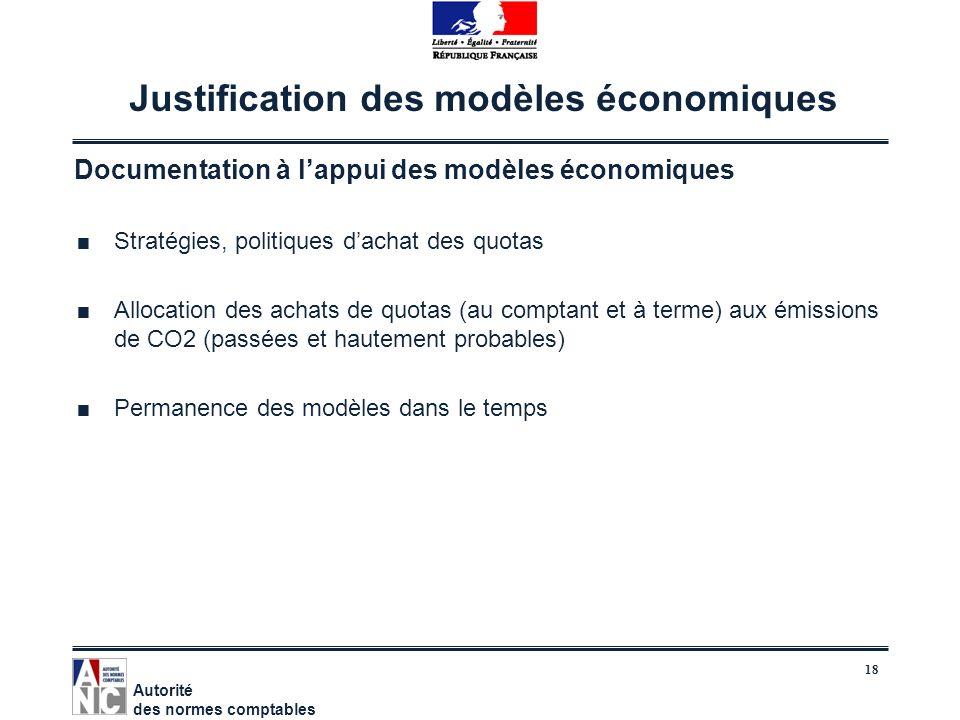 Justification des modèles économiques