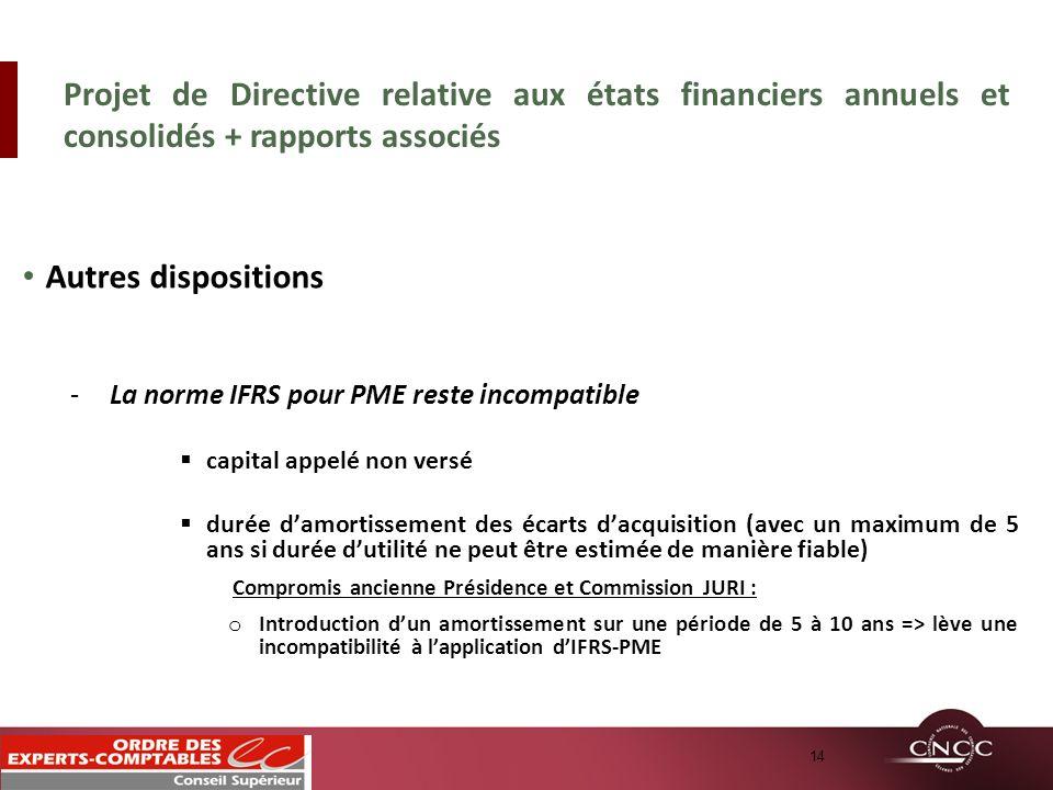 Projet de Directive relative aux états financiers annuels et consolidés + rapports associés