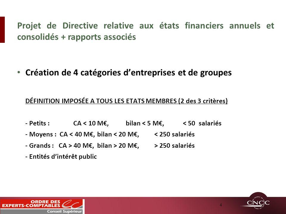 Création de 4 catégories d'entreprises et de groupes