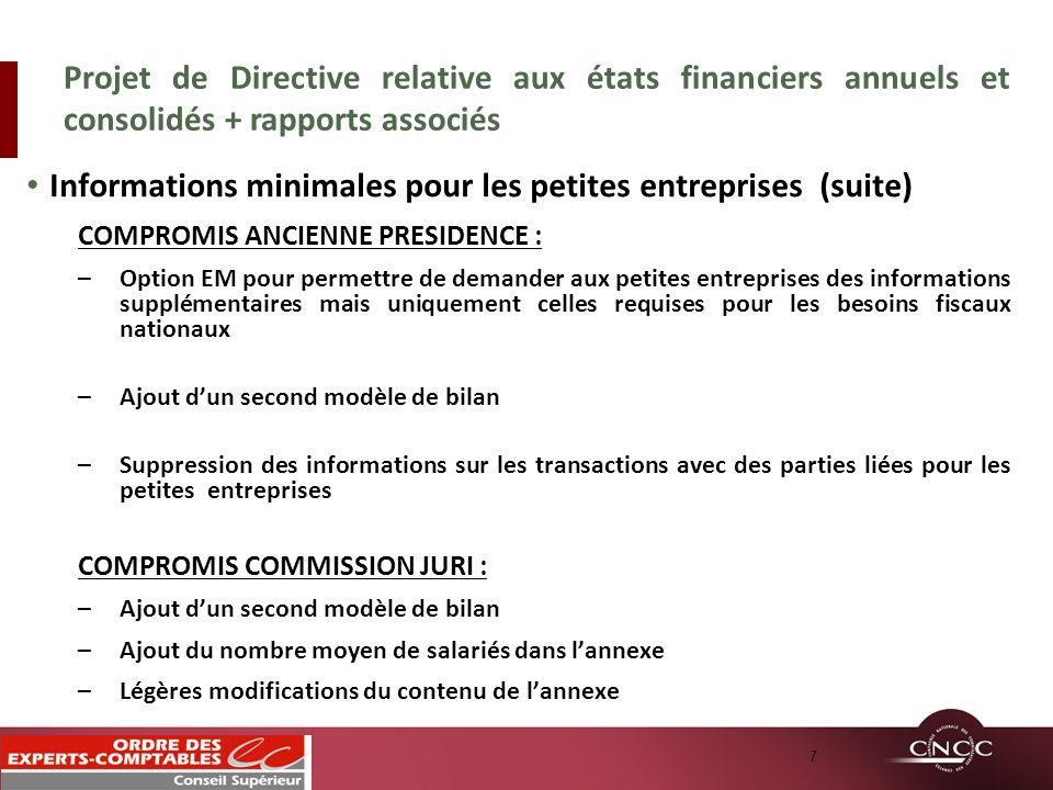 Informations minimales pour les petites entreprises (suite)