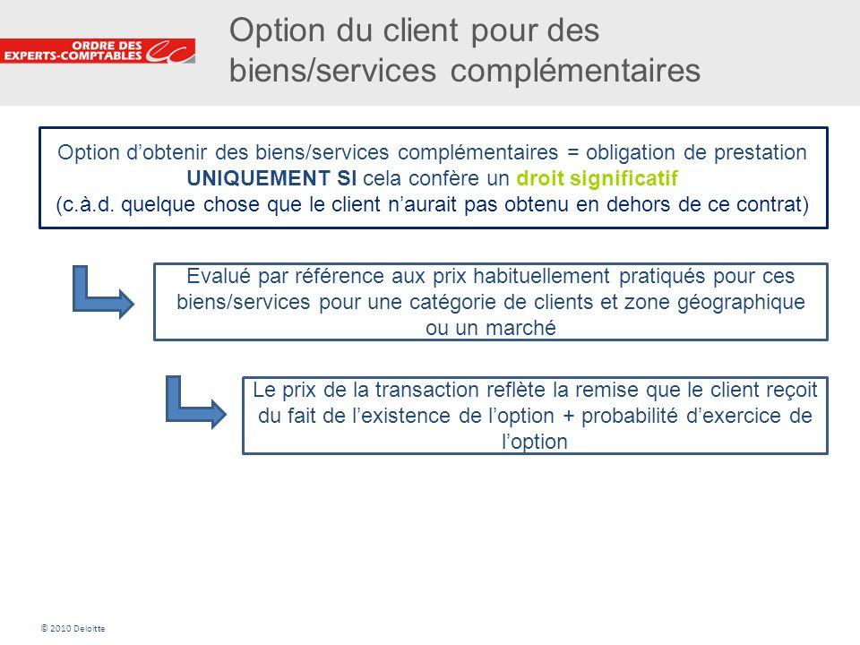 Option du client pour des biens/services complémentaires